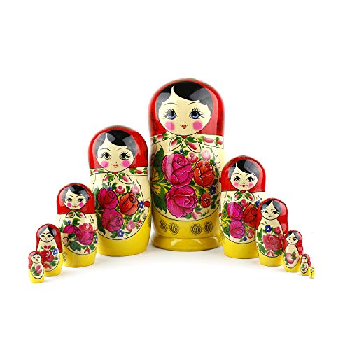 Kostüm Jungen Russisch Für - Heka Naturals Russian Matryoshka Nesting Dolls Hand Made Classic Red Top Babushka Doll Wooden Gift Toy (10 doll Set (26 cm))