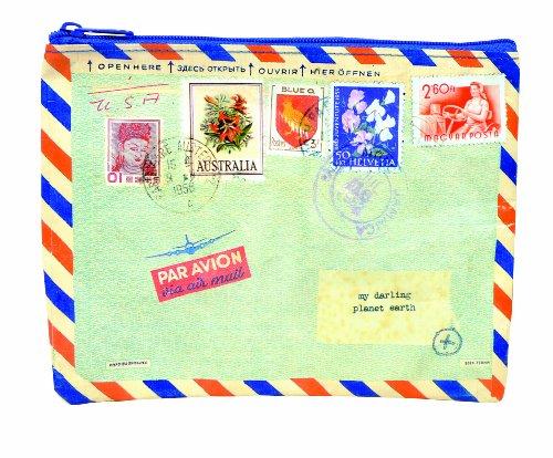 Blue Q Fermeture à glissière Pochette Airmail 9,5 « x 7,25 » H Multicolore