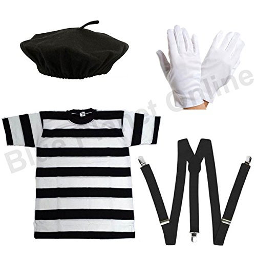 Blue Planet Online - Mens French Mime Artist T Shirt, Beret, Gloves & Braces Fancy Dress (Men: Small)