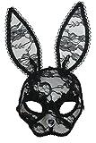 Zoelibat 84096641.008 - Augenmaske Hase aus Filz und Netz mit Strassstein als Nase schwarz/grau