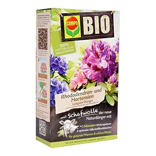 COMPO BIO Rhododendron Langzeit-Dünger für alle Rhododendren und andere Morbeetpflanzen, 5 Monate Langzeitwirkung, 750 g