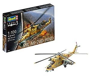 Revell- Maqueta Helicóptero Mil Mi-24D Hind, Kit Modello, Escala 1:100 (4951) (04951), 19,4 cm de Largo (
