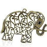 Sexy brilla de la mujer Hollow de Bronce Antiguo elefante Animal Charm colgante para collar