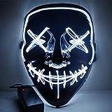 BFMBCHDJ Halloween neon led maske party kostüm purge maske wahl cosplay kostüm führt dj party im dunkeln leuchten a12 one size