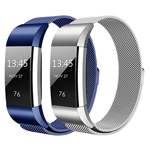 Hanlesi Fitbit Charge 2 Armband, Edelstahl Armbanduhren Watch Band Fitness für Fitbit Charge 2 (Klein, silber + blau)