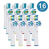 Toothbrush Heads for Oral B Electric Replacement Brush Heads, Including 4 Precision Clean, 4 Floss Action, 4 Cross Action and 4 3D White - 16 Variety Pack