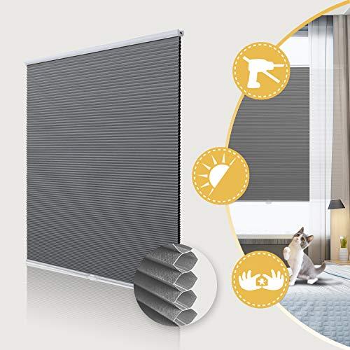 Deswell Wabenplissee Verdunklung Thermo ohne Bohren mit Klemmträger / -fix Jalousie für Fenster und Tür Sichtschutz und Sonnenschutz Weiß-Grau 40x140cm