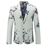 Männer Knopf-Unten Kragen Britischen Stil Plus Größe zurück Schneiden Casual SuitsJackets(Weiß,58)