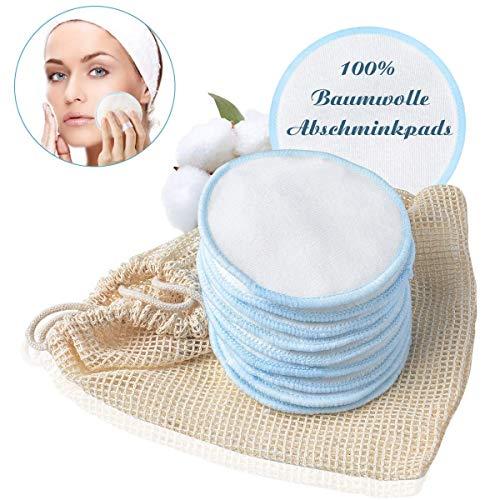 Waschbare Abschminkpads, METALABY Abschminkpad Make-Up Entferner Cleansingpads aus 100{c8330676d3bfff31e1f5333c300ac1ae9d757a1c50bf088c5ad76cc051ddd2aa} Baumwolle Gesichts Pads Abschminktücher 10 STÜCKE