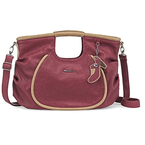 TAMARIS ALEX Handtasche, Shopper, Schuh-Anhänger, 3 Farben: graphite grau, bordeaux rot oder muscat braun, Farbe:bordeaux rot (Alex Hobo)