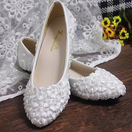 JINGXINSTORE Pizzo Bianco scarpe matrimonio perle Flats-Low nuziale tacco tacchi alti pompa 4 cm / 1.5inch heel