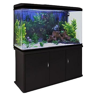 Aquarium MonsterShop et accessoires de démarrage, Plantes, Meuble noir, Gravier blanc 4ft, 300 L
