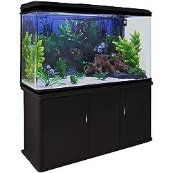 monstershop acuario litros con mueble negro y kit con plantas y grava blanca cm