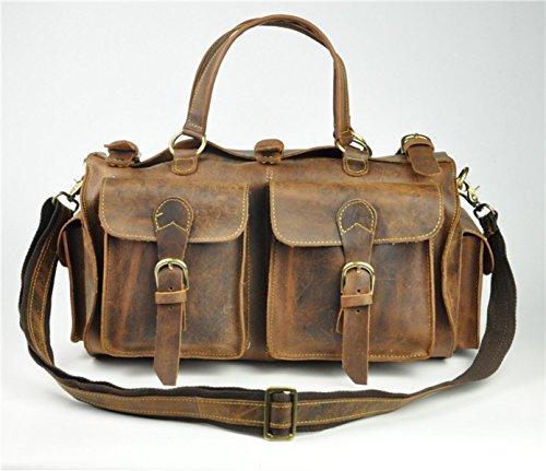 Verrückte Pferd Leder Reisetasche Männliche Tasche Retro Hand Gepäck Diagonale Gepäck Handtasche Leder Leder Tasche,A-45*23*23cm (Sperre Leder-gepäck)