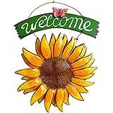 Vintage Hierro Colgante Mariposa de girasol Welcome Sign 15inch para puerta para colgar decoración para el hogar
