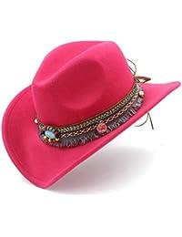 cc6cef32d918b7 JiaCH Western Cowboy Hat,Fashion Women Men Hat With Tassel Decoration Felt  Cowgirl Sombrero Caps For Unisex (Color : Rose red, Size : 56…