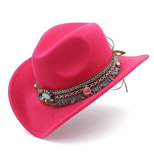 XHD-Sombreros Mujeres de moda Hombres Western Cowboy Hat Para Lady Tassel  Felt Cowgirl Sombrero 76d26aed1b9