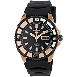 Seiko Men's Quartz Watch with Black Dial Analogue Display and Black Rubber Bracelet SRP210