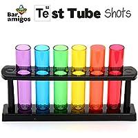 CKB LTD GH-027 - Bar Amigos Juego de 6 vasos de chupito en forma de tubos de ensayo con soporte, multicolor