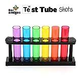 IGGI Neon Kunststoff Reagenzglasaufnahme Shooters Gläser mit Stand - Lila, Blau, Grün, Gelb, Orange, Rot