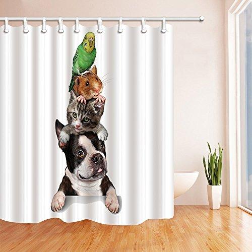3D Digital Druck Tiere wie Hund Katze Eichhörnchen Parrot Polyester-Duschvorhang Schimmelresistent-Badezimmer Dekoration Bad Vorhänge Haken enthalten 179,8x 179,8cm - Runde Rod Druck-vorhang