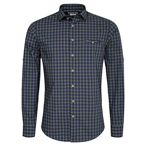 Gweih & Silk Trachtenhemd Body Fit edi Zweifarbig in Grün und Dunkelblau von, Größe:M, Farbe:Grün