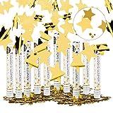Relaxdays Set da 10 Cannoni Spara-Coriandoli, 40 cm, Stelle, Oro, Gittata 6-8 m, Matrimoni, Compleanno, Carnevale