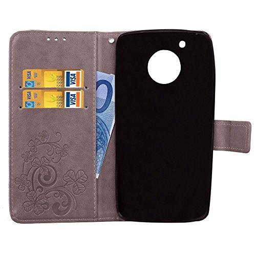 EKINHUI Case Cover Double Magnetic Back Sucktion Retro Style PU Leder Flip Stand Case mit Kickstand und Wallet Beutel Funktion für Motorola Moto G5 ( Color : Gray ) Gray