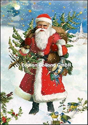 Nostalgische Weihnachtskarte Carola Pabst * Weihnachtsmann * Glitzer