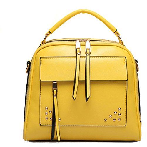 Koreanische Version Damen Nieten Mehrzweck Schultern Schulter Messenger Handtasche,RedWine BrightYellow