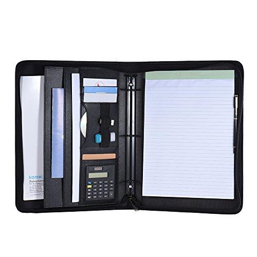 Aibecy A4PU - Blocco in pelle con calcolatrice, zip, e fogli staccabili con vari scomparti - portfolio multifunzione - cartella documenti, per conferenze, per la scuola e il lavoro, di colore nero