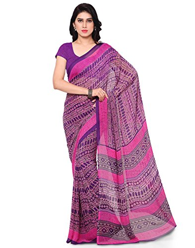 Sarees (Women's Clothing Heavy Georgette Saree For Women Latest Design Wear New Collection in Latest With Designer Blouse Free Size Beautiful Pink Colour Saree For Women Party Wear Offer Designer Sarees With Blouse Piece)  available at amazon for Rs.319