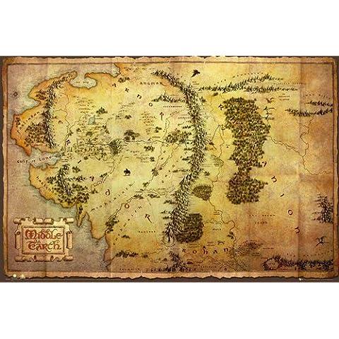 Empire Merchandising - Poster, motivo: Mappa della Terra di Mezzo dello Hobbit, con accessori per il montaggio Avec 2 baguettes