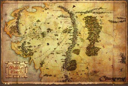 Empire Merchandising - Poster, motivo: Mappa della Terra di Mezzo dello Hobbit, con accessori per il montaggio multicolore