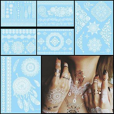 OOFAYZBL® 6pcs impermeabile bianco temporanea tatuaggio per le donne del corpo lettera fiore pasta di monili di nozze collo arte autoadesivo del