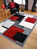 Tempo Silver Red Square Design Thick Quality Modern Carved Rugs. Available in 6 Sizes (120cm x 170cm)