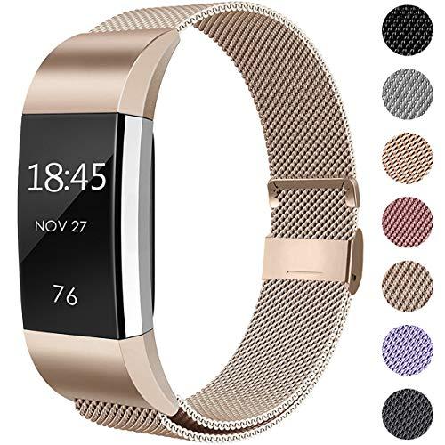 Hamile Kompatibel für Fitbit Charge 2 Armband, Metall Armband, Edelstahl Sport Ersatzarmband für Fitbit Charge 2 Fitness Tracker, Klein Champagner