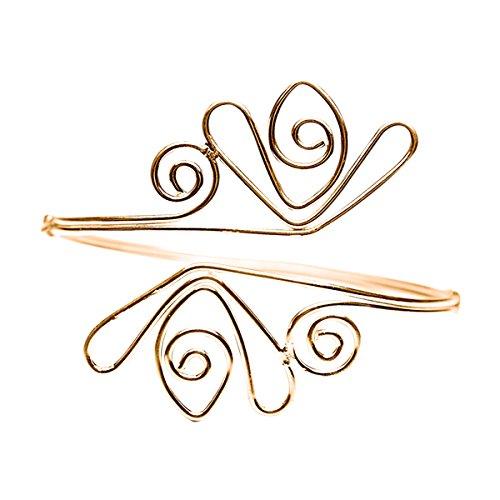 keland Punk-Stil Legierung Tulpe Oberarm Kette Armband Armband Ring Schmuck (Gold-2)