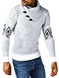 Leif Nelson Maglione da Uomo Lavorato a Maglia, per l'inverno, Invernale, Norvegese, Collo Sciallato, Slim Fit, a Maniche Lunghe LN5915 Ecru-Grigio. XL
