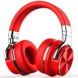 cowin E7 PRO [2018 Upgraded] Active Noise Cancelling Headphone Bluetooth Headphones with Microphone Hi-Fi Deep Bass Wireless Headphones Over Ear 30H Playtime for Travel Work TV Computer Phone (red)