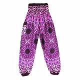 LuckyGirls Pantalon de Harem Thaï - Traditionnel Bohème Mandala Imprimé Pantalons de Yoga Rayonne (Rose vif, Taille unique)