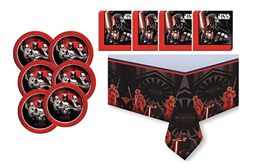 Motto Party Geburtstag Feier Dekoration Set: Servietten + Tischdecke + große Teller: 29 Teile für 8 Kinder - wählbar: Star Wars - Blaze - Transformers -Spiderman (Star Wars)