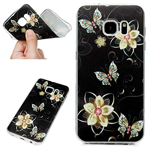 Hülle für iPhone 7 / iPhone 8 Case Schutzhülle Handytasche Transparent Hülle TPU Silikon Handyhülle Schale Tasche Silikonhülle Durchsichtig Backcover Handycase Goldener Schmetterling
