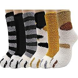 Macabolo 6 pares de calcetines unisex con garras de gato, suaves, mullidos, acogedores calcetines de felpa, cálidos para dormir en invierno para mujeres