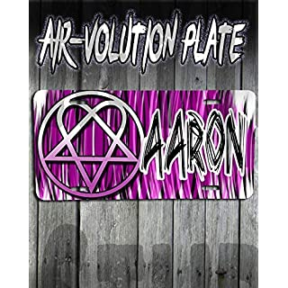 Mythic Airbrush Personalized Airbrushed Heartagram License Plate Tag