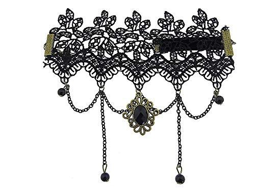 chenkidee Spitze Makramee Frau Mädchen viktorianischer Stil Arm-Tiara Schwarze Perle Bijoux Weihnachten Valentinstag Geburtstag Schmuck Ihr Elegant ()