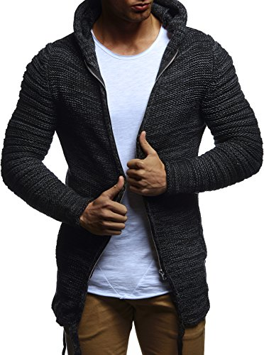 LEIF NELSON Herren Hoodie Strickjacke Jacke Kapuzenpullover Sweatjacke Zipper Sweatshirt LN20741 Schwarz