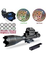 Miras de arma de Caza, CoCo Pistola Scopes Illuminated 4-12x50EG Caza 4 Reticulado holográfico Punto de vista rojo y verde para 22mm Weaver / Picatinny Rail Mount (CoCo-Scope 4-16 Zielfernrohr)