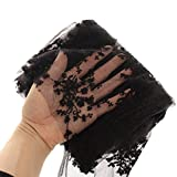 KING DO WAY 1.42YardX50cm Dentelle Tissu Coton Couture Artisanat DIY Lace Fabric Sewing Floral-Noir