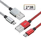 Cavo USB Micro USB IOS Android Carica Rapida -Trasferimento Dati (Micro 1M, Rot+Grau)